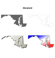 Maryland outline map set vector image