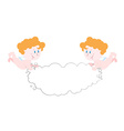 Angel holds cloud Space for text Two cute Angels vector image