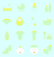 Baby color icons set on light background vector image