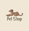 Cute pet shop logo with dog vector image
