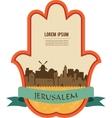 Jerusalem skyline inside hamsa hand vector image