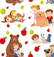 Seamless background with children and pets vector image
