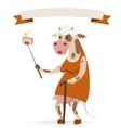 Selfie photo cow old woman portrait vector image