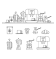 Set of coffee devices in flat style vector image