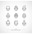 Set of linear icons support and care vector image