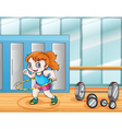 Young girl working out vector image