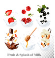 Big collection of icons of fruit and berries in a vector image