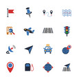 navigation transport map icon set vector image
