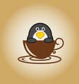 penguin logo coffee vector image