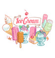vintage sketch fruit ice cream summertime vector image