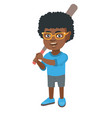 Young african-american boy playing baseball vector image