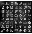 Hand drawn business icons on chalkboard vector image