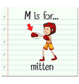 Flashcard letter M is for mitten vector image