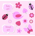 Set of pink scrapbook elements for baby girl vector image vector image