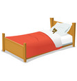 cartoon bed with teddy bear vector image