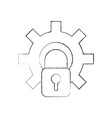 gear with safe padlock isolated icon vector image