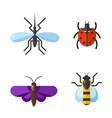 Insect icon flat set isolated on white background vector image