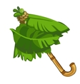 Umbrella made of bamboo and palm leaves vector image