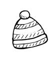winter hat doodle vector image