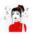 Girl in headphones listening music vector image