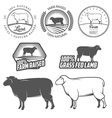Set of lamb labels badges and design elements vector image