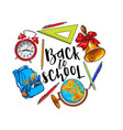 round frame of school items backpack with place vector image