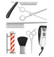 different types of barber equipments vector image