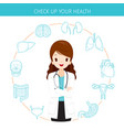 Woman doctor with human internal organs line vector image
