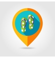 Flip Flops flat mapping pin icon with long shadow vector image