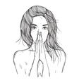 Abstract woman prays vector image