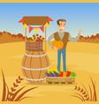 farmer man selling fresh vegetables from his farm vector image