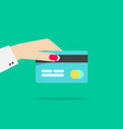 hand holding credit or debit card vector image