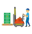 man control loading machine with flammable metal vector image