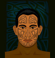 maori man with tattoed face vector image