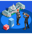 Election News Infographic Capitol Dome Isometric vector image