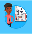 businessman looking at the labyrinth with solution vector image