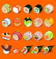 Japanese Sushi Collection Set vector image