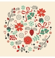 Round Christmas composition vector image vector image