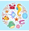 Sea creatures background 2 vector image vector image