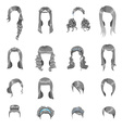 Set of sixteen different gray hairstyles for women vector image vector image