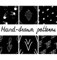 Set of hand-drawn seamless patterns vector image vector image