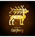 Greeting card with gold shiny reindeer vector image vector image