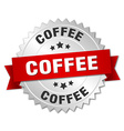 coffee 3d silver badge with red ribbon vector image
