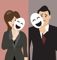Business man and woman holding a fake mask vector image