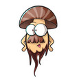 cartoon mushroom with beard vector image