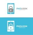 lock and phone logo combination Padlock vector image