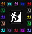 rock climbing icon sign Lots of colorful symbols vector image