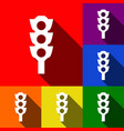 traffic light sign  set of icons with flat vector image
