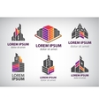 set of colorful buildings houses logos vector image