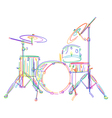 neon drum kit vector image